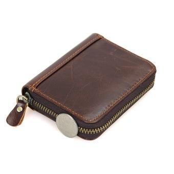 KEVIN YUN Vintage Men Genuine Leather Credit Card Holder Coffee - 4