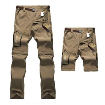 Khaki Mens Summer Quick Dry Removable Pants Outdoor Brand Cloting Male Breathable Shorts Men Hiking Camping Trekking Trousers