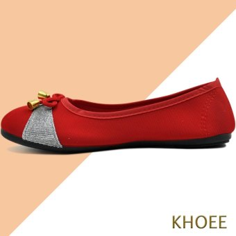 Khoee AA-017 Red Mitch Women's Doll Ballet Flat Shoes - 2