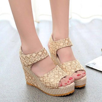 Khoee AW0115 Women's Shoes Peep Toe Wedge Platform High Heel PumpSandals Ankle Strap (beige) Price Philippines