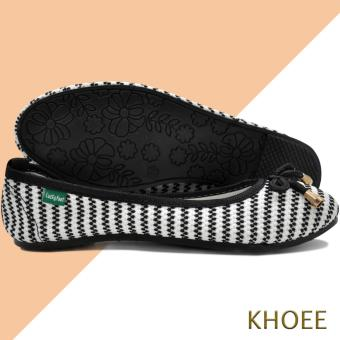 Khoee LKF-03 White Black Jenny Women's Doll Ballet Flat Shoes - 4