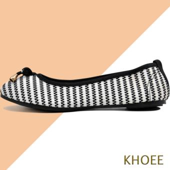 Khoee LKF-03 White Black Jenny Women's Doll Ballet Flat Shoes - 2