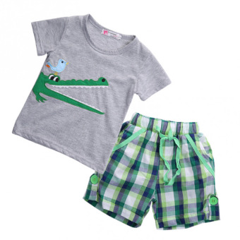 Kid Boy Crocodile T-shirt Top With Pants Outfit 2Pcs Sets SummerClothes - intl
