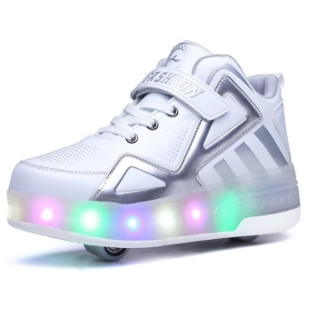 Kids Boys Girls High-Top Shoes LED Light Up Sneakers Double WheelRoller Skate Shoes(White) - intl