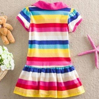 Kids Girls Peppa Pig Striped Rainbow T-Shirt Skirt Child ShortSleeve Dress - intl - 3