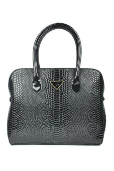 Kimbel HGZ1532 Croco Handbag with Sling (Black)