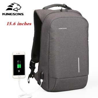 Kingsons 15.6'' External USB Charging Backpacks School Backpack Bag Laptop Computer Bags Men's Women's Travel Bags Business Bags (Black) - intl