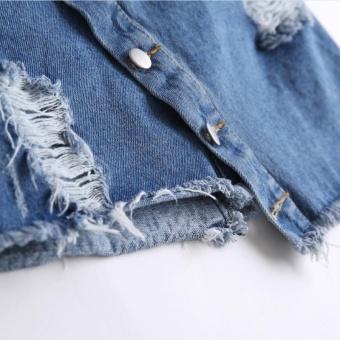 Kisnow Female Fashion Denim Midi Skirts(Color:Blue) - intl - 5