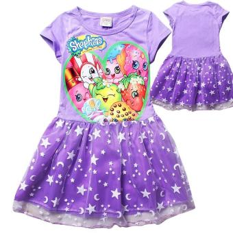 Kisnow Ice Silk Shopkins 115-155cm Body Height PrincessDresses(Color:Purple) - intl