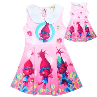Kisnow Troll Girl's Elastic Modal 3-15 Yrs100-155cm Body Height Dresses(Color:Pink) - intl