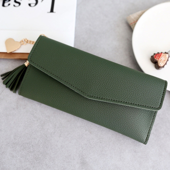 Kiss European and American big capacity heart-shaped pendant wallet (Dark green long)