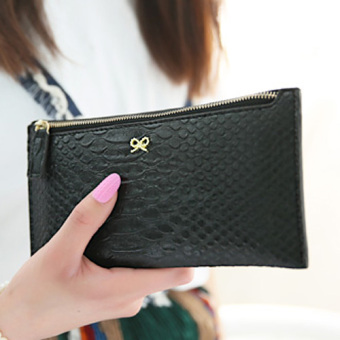 Kiss me2017 metal New style women's bow wallet (Black Snake big handbag)