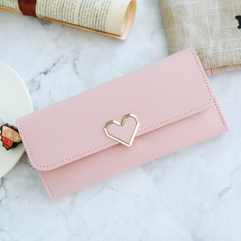 Kiss me2017 plain heart-shaped hook mobile phone women's wallet (Pink)