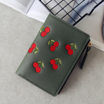 Kiss Stylish embroidered Women's verticle wallet (Dark Green)