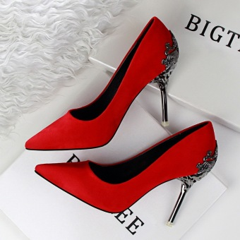 KOKO Fashion High-Heeled Shoes Woman Pumps Sexy Thin Heels High Heels Suede Pointed Toe Women Shoes Closed Toe Ladies Wedding Shoes (Red)