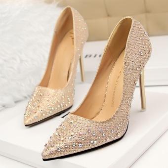 KOKO Fashion High-Heeled Shoes Woman Pumps Thin Heels Crystal HighHeels Pointed Toe Closed Toe Ladies Wedding Shoes Women Shoes(Pink) - 3