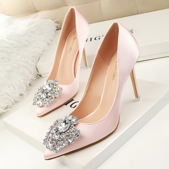 KOKO Hot Fashion High-Heeled Shoes Sexy Woman Pumps Crystal Thin Heels High Heels Closed Toe Pointed Toe Women Shoes Ladies Wedding Shoes (Pink)