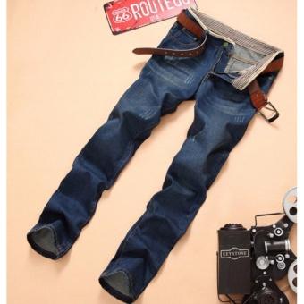 Korea Leisure Loose Straight Jeans For Men Denim Jeans Trousers Plus Size Big Large Pants 28-38 - intl - 3