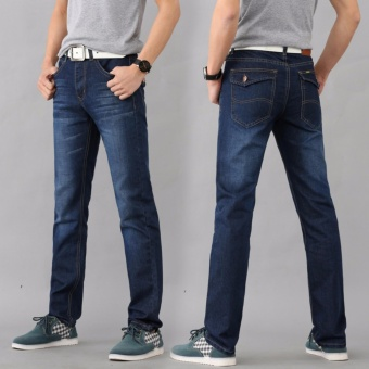 Korea Men's Fashion Casual Wild Straight Slim Jeans Trousers - intl