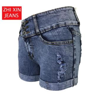Korea Tattered Classic Ripped Skinny High waist jeans shorts