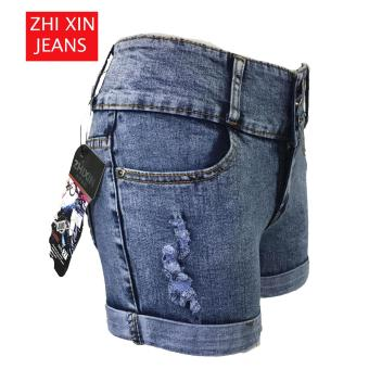 Korea Tattered Classic Ripped Skinny High waist jeans shorts - 5