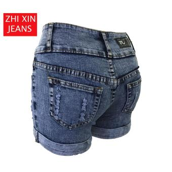 Korea Tattered Classic Ripped Skinny High waist jeans shorts - 4