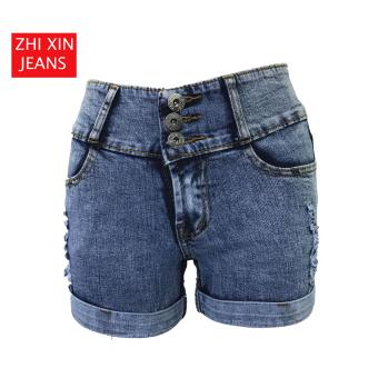 Korea Tattered Classic Ripped Skinny High waist jeans shorts - 2