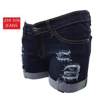 Korea Tattered Classic Ripped Skinny jeans shorts (BLUE) - 2