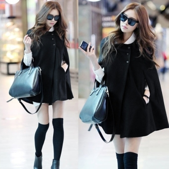 Korea Women Charming Winter Casual Cloak Coat Cape Poncho Wool Warm Jacket New