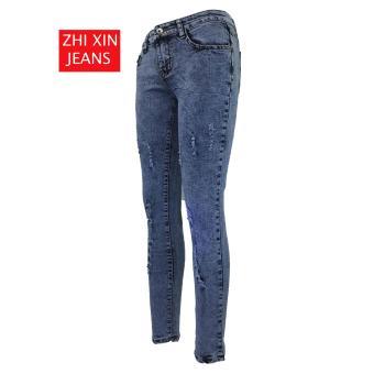 Korea Women's Tattered Classic Ripped Skinny Jeans - 3