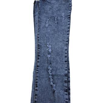 Korea Women's Tattered Classic Ripped Skinny Jeans - 5