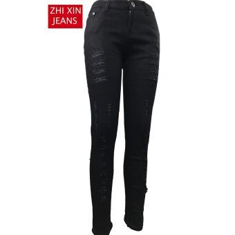 Korea Women's Tattered Classic Ripped Skinny Jeans blck - 2