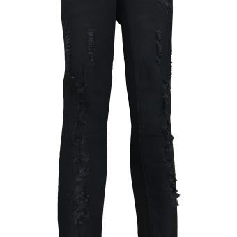 Korea Women's Tattered Classic Ripped Skinny Jeans blck - 3