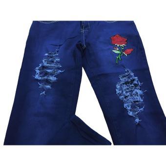 Korea Women's Tattered Classic Ripped Skinny Jeans BLUE - 4
