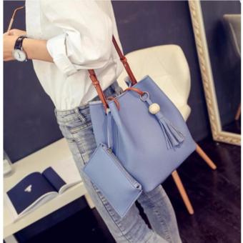 Korean 2 in 1 Bucket Bag and Make up Pouch Sling Bag (Light Blue)