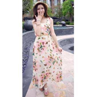 Korean Arabella Butterfly Print Sleeveless Chiffon Maxi Dress (Pink)
