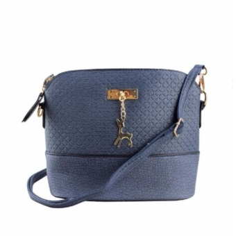Korean Bag Leather Sling Bag Reindeer Charm Chain Blue Casual Bag Body Bag Crossbody Bag Korean Fashion Bag