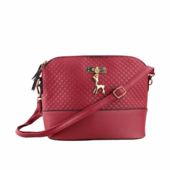 Korean Bag Leather Sling Bag Reindeer Charm Chain Red Casual Bag Body Bag Crossbody Bag Korean Fashion Bag
