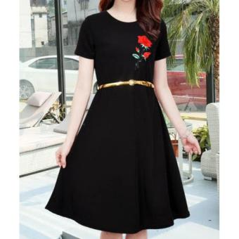 Korean Brielle Crepe Embroidered A-Line Midi Dress with Belt (Black)