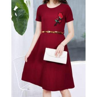 Korean Brielle Crepe Embroidered A-Line Midi Dress with Belt (Maroon)