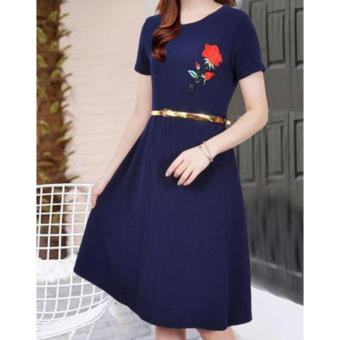Korean Brielle Crepe Embroidered A-Line Midi Dress with Belt (NavyBlue)
