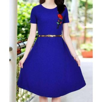 Korean Brielle Crepe Embroidered A-Line Midi Dress with Belt (RoyalBlue)