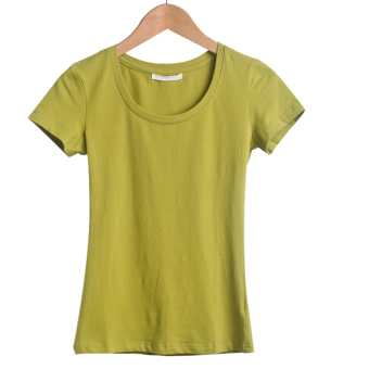 Korean cotton female Slim fit Top T-shirt (Mustard green)