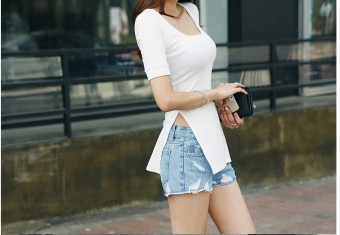 Korean cotton solid color long section short-sleeved Top Slim fit female T-shirt (White Color)