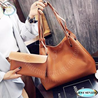 Korean Design 2 in 1 Fashion Shoulder Leather Bag (Brown)