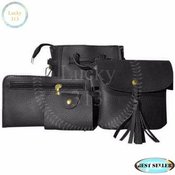 Korean Design 4 in 1 Fashion Shoulder Bag Leather (Black)