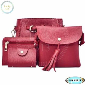 Korean Design 4 in 1 Fashion Shoulder Bag Leather (Red)