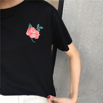 Korean embroidered round neck bottoming shirt embroidered short-sleeved t-shirt (Black)