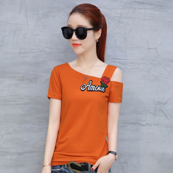 Korean embroidery Women's short-sleeved off-the-shoulder Top T-shirt (Orange)