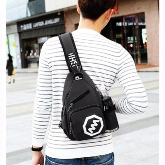 Korean Fashion Leisure Outdoor Sprot Sling Bag Shoulder Backpack Casual Cross Body Bag Outdoor Sling Backpack Chest Pack with Adjustable Shoulder Strap for Cycling Hiking Camping Travel and Men Women(Black) - intl